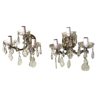 Vintage French Crystal 3 Light Wall Sconces- A Pair