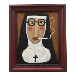Contemporary Folk Artist Rose Walton Smoking Nun