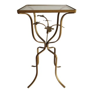 Italian Hollywood Regency Floral Tole Metal Glass Accent Table
