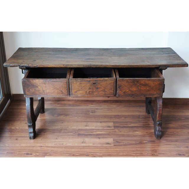 18th Spanish Refectory Table with Three Drawers - Image 2 of 8