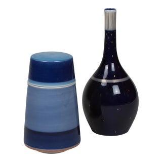 Two Cobalt and Blue Porcelain Pieces by KPM, German, 1950s