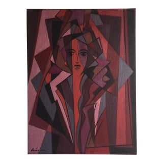Mid-Century Abstract Portrait Painting