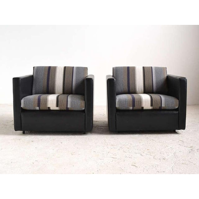 Pair of Pfister Lounge Chairs by Knoll in Leather and Fabric - Image 4 of 8