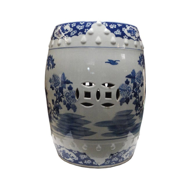 Chinese Porcelain Round Graphic Stool - Image 1 of 4