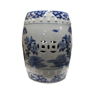 Chinese Porcelain Round Graphic Stool