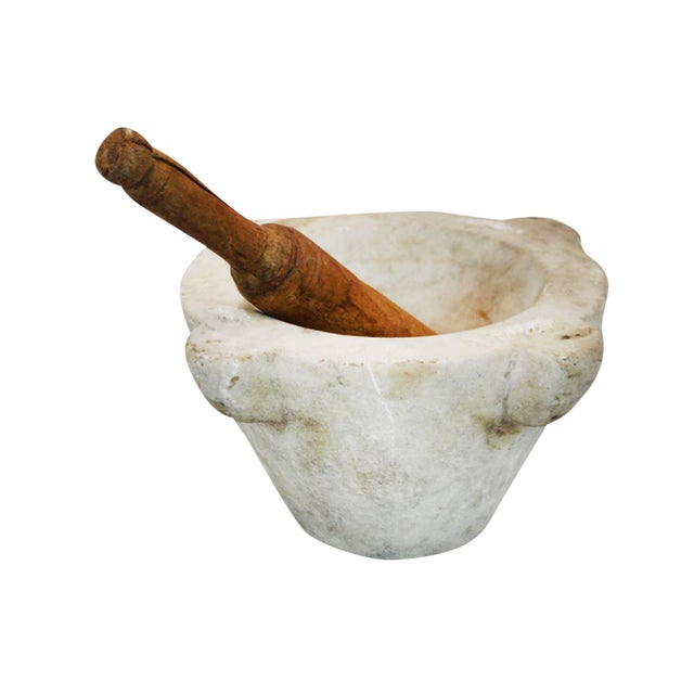 French Marble Mortar & Wooden Pestle - Image 1 of 6