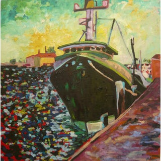 Contemporary Ship in the Harbor Plein Air Oil Painting