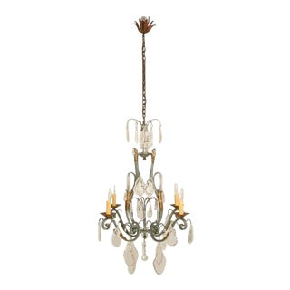 C.1930 French 4 Light Painted Wrought Iron Chandelier