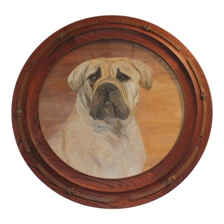 Monumental 19th Century Signed L. Stowe Oil Painting of Dog