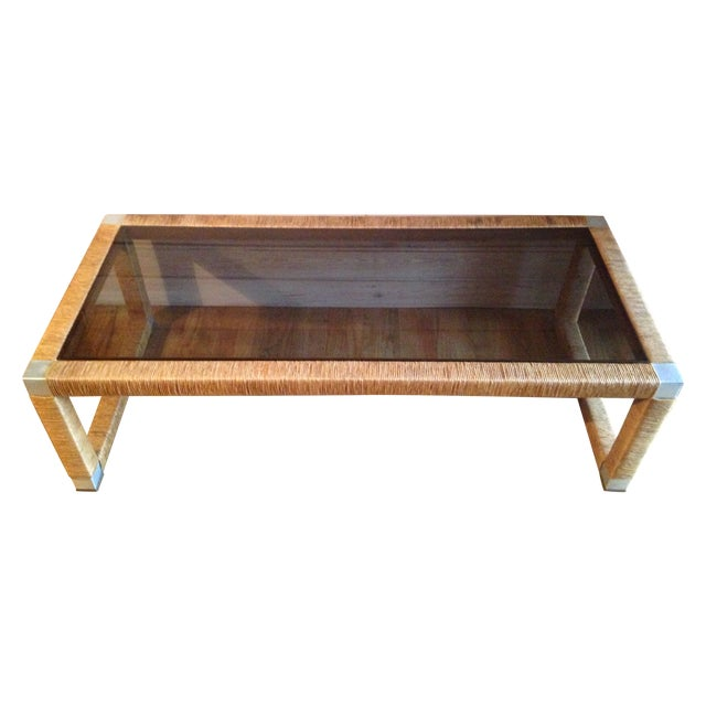 Wicker and Glass Top Coffee Table - Image 1 of 8