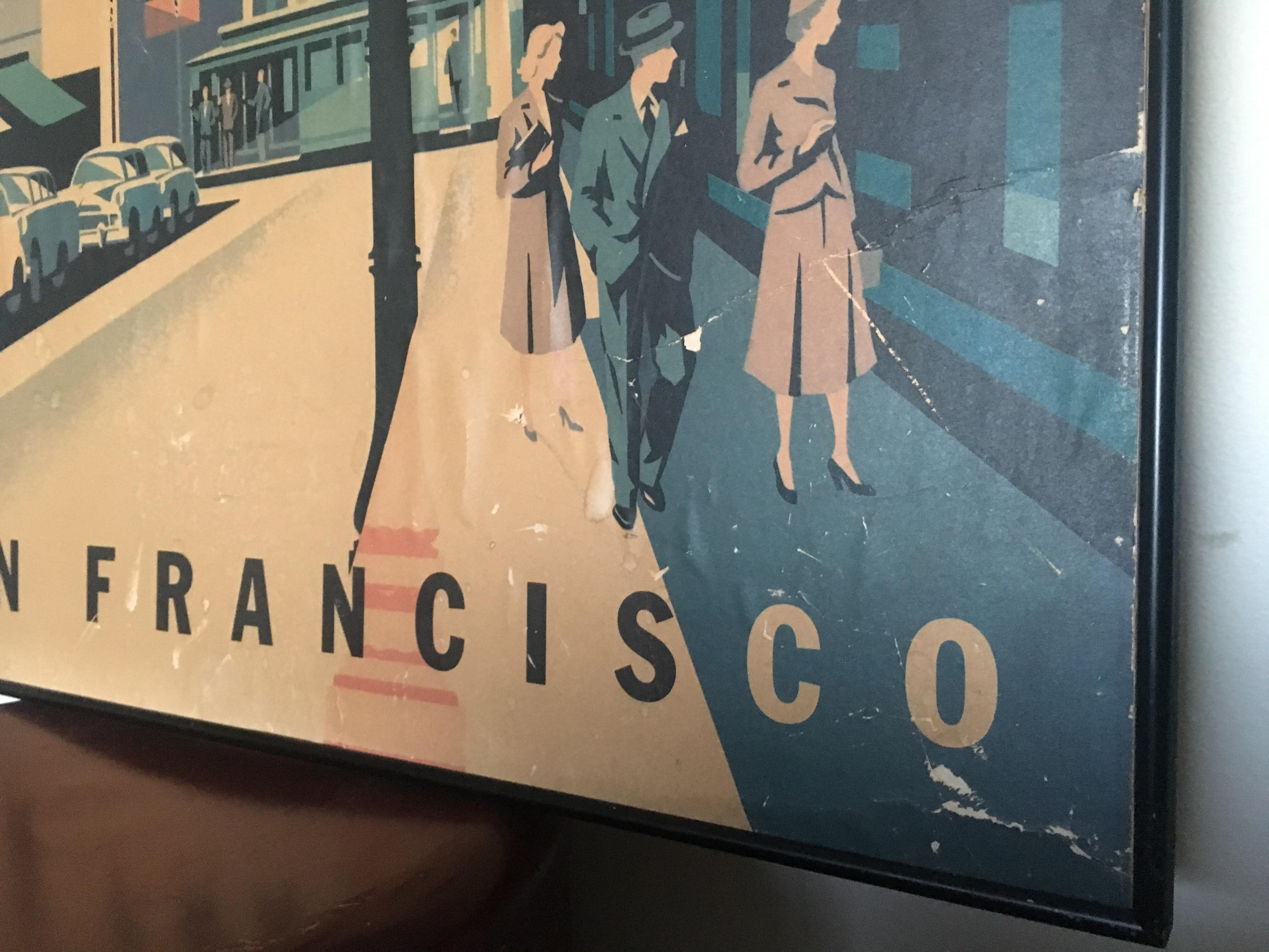 Delightful Framed Mid Century San Francisco Poster   Image 4 Of 8
