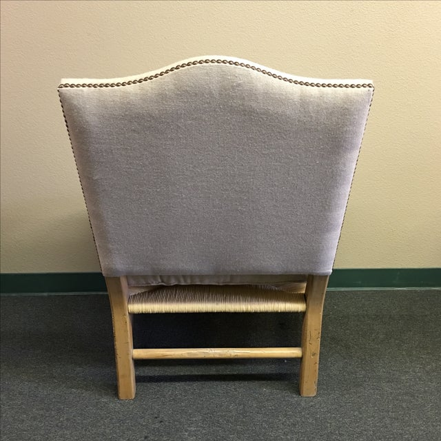 Image of Linen Upholstered Oak and Woven Chair
