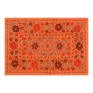 Orange & Blue Uzbeki Suzani - 5' x 7′