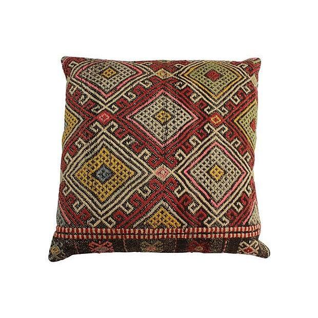 Vintage Turkish Kilim Floor Pillows - A Pair - Image 5 of 6