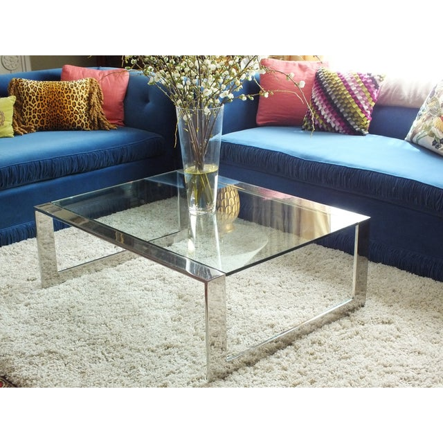 Mid-Century Modern Chrome & Glass Cocktail Table - Image 2 of 10