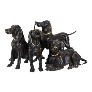 Circa 1910 Austrian Bronze Hunting Dogs Figurine With Gilt Collared Accents