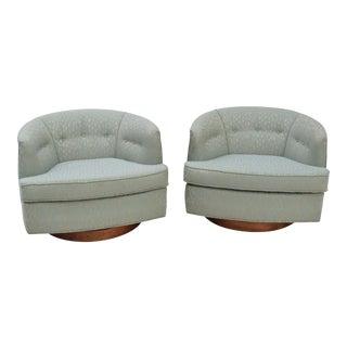 Milo Baughman Swivel Lounge Chairs - A Pair