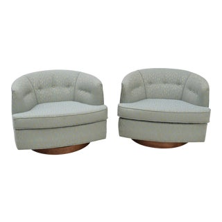 Milo Baughman Swivel Lounge Chairs - A Pair