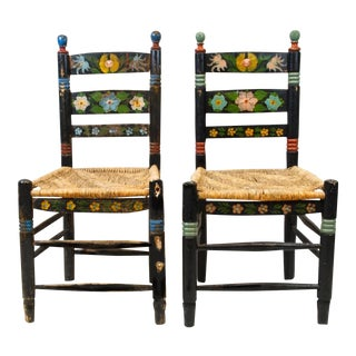 Early 20th-C. Hand-Painted Mexican Folk Chair