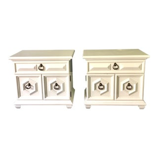 Hollywood Regency White Lacquered Nightstands - A Pair