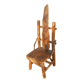 Antique Rustic Burl Wood Throne Chair