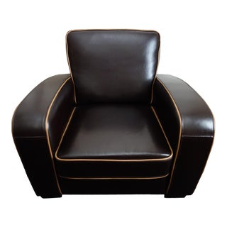 Art Deco Brown Leather Chair