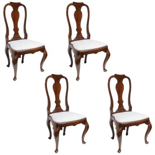 Set of Four 19th Century Queen Anne Revival Side Chairs with Slip Seats