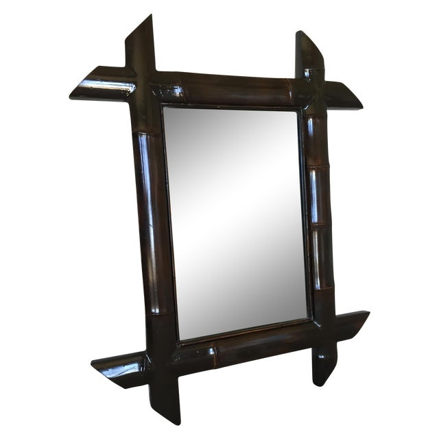 Brown Lacquered Bamboo Mirror - Image 1 of 4