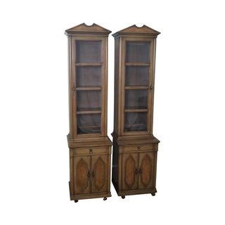 Vintage Pair of Narrow Regency Style Bookcases