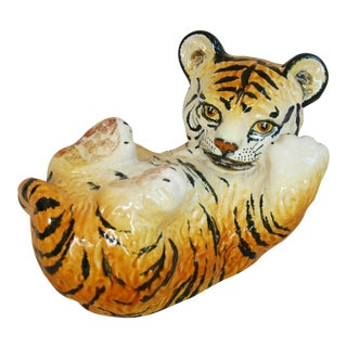 1950s Vintage Italian Mid-Century Terracotta Tiger Cub