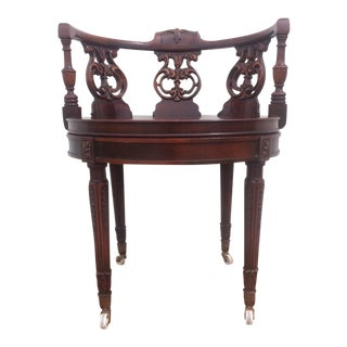 Vintage Rococo Carved Mahogany Chair for Desk, Vanity, Piano or Library
