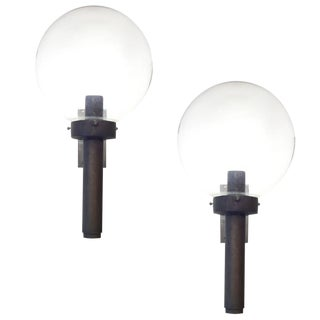 Bronze Sconces With Large Glass Globes - a Pair
