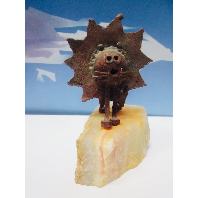 Image of Abstract Modernist Brutalist Metal Lion Sculpture