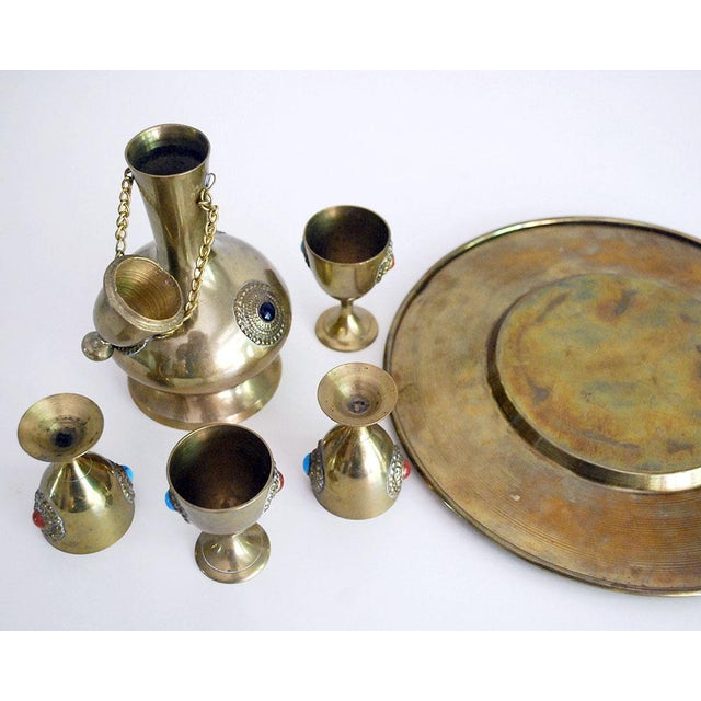 Middle Eastern Brass Drink Set - Set of 6 - Image 5 of 6