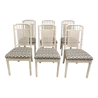 Hollywood Regency Faux Bamboo Dining Chairs - Set of 6