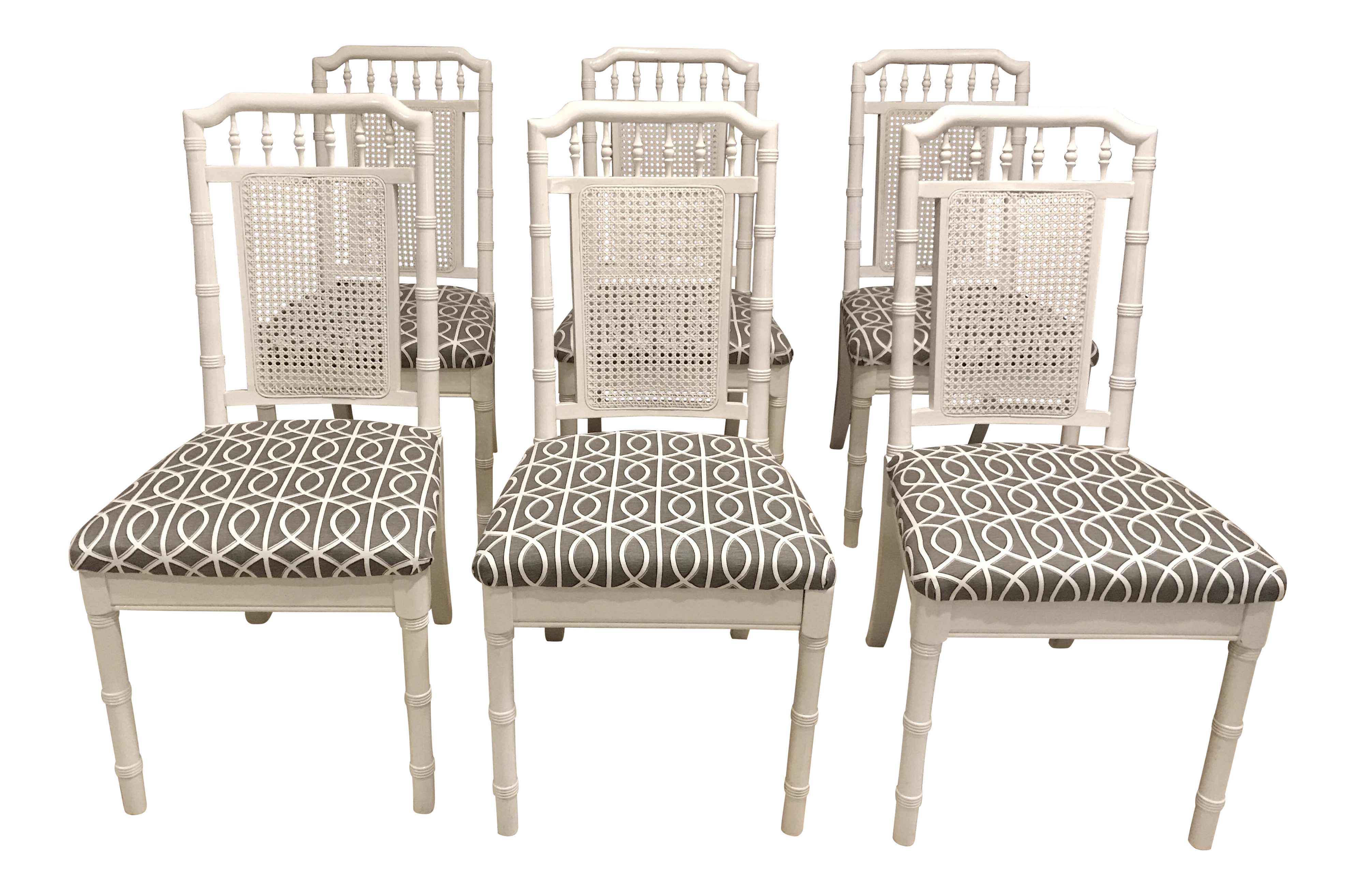 Hollywood Regency Faux Bamboo Dining Chairs   Set Of 6   Image 1 Of 11