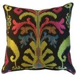 Image of Brown & Multi-Color Ikat Jacquard Pillows - A Pair