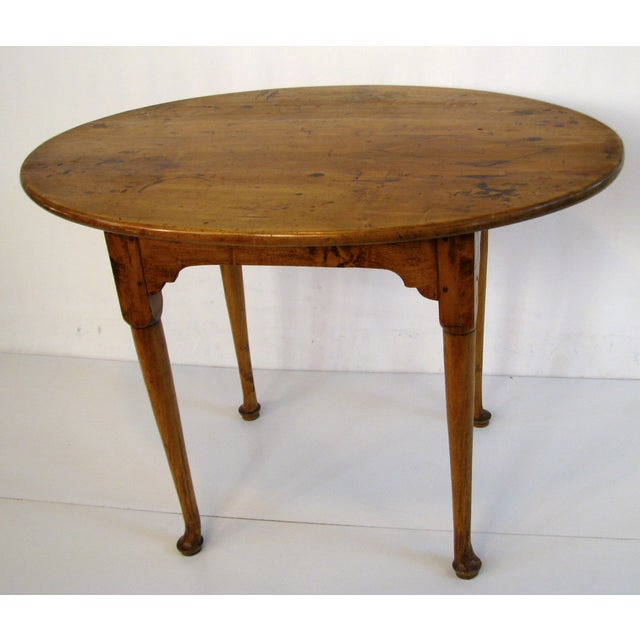 Image of Queen Anne Birds-Eye Maple Oval Tea Table 18th C