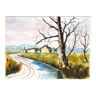 House on a Stream Watercolor Painting by Oris G. Turley
