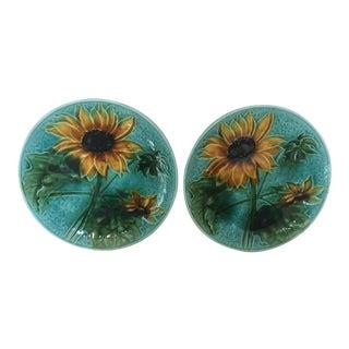 Vintage Villeroy & Boch Majolica Sunflower Plates - A Pair