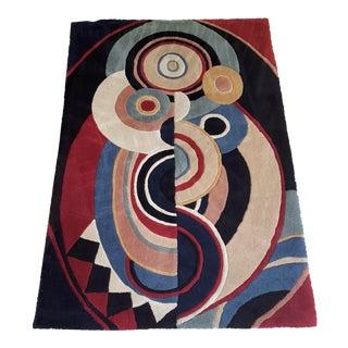 Art Deco Style Wool Rug - 3′6″ × 5′5″