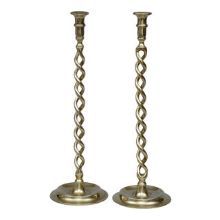 English Pair Tall Brass Antique Twist Candlesticks