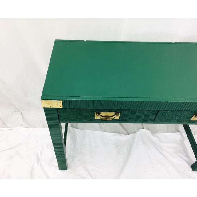Vintage Mid-Century Campaign Green Desk - Image 9 of 11