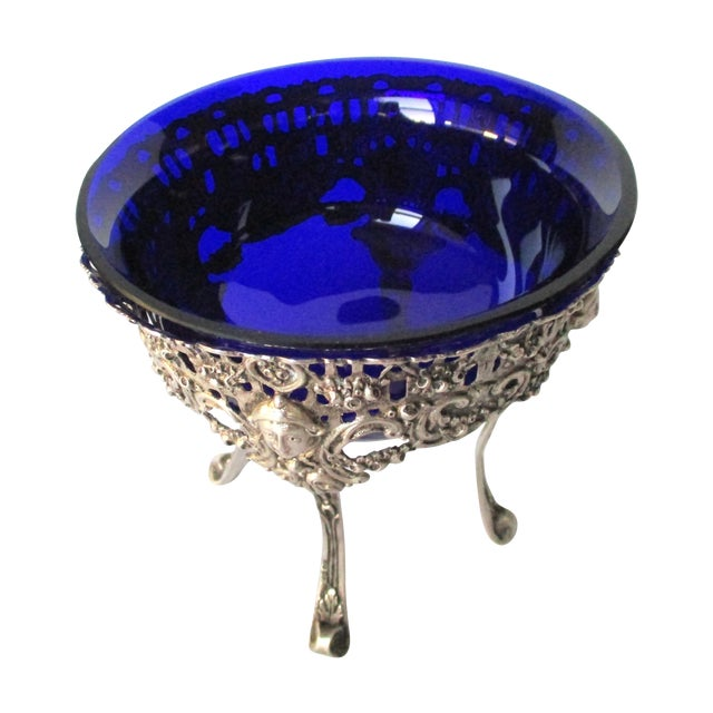 Antique Continental Silver & Blue Glass Bowl - Image 1 of 6