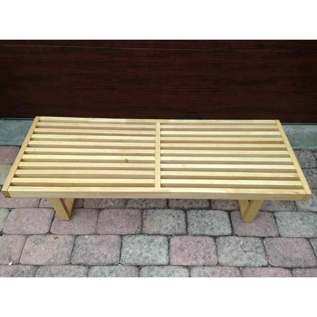 Mid Century Solid Wood Small Platform Slat Bench Or Coffee: Mid-Century Modern Slat Bench