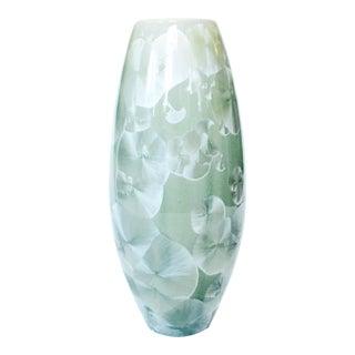Vintage Mint Green Crystalline Pottery Vase