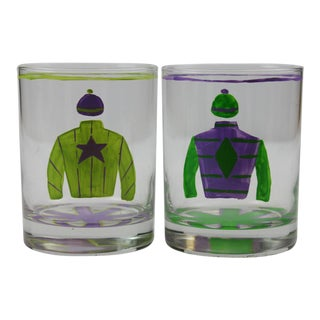 Hand Painted Jockey Silks Old-Fashioned Bar Glasses - A Pair