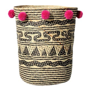 Borneo Tribal Drum Basket - with Fuschia Hibiscus Pom-poms