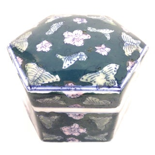 Chinese Butterfly Hexagon Covered Trinket Dish