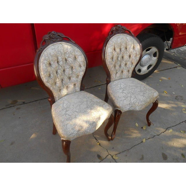 French Louis XV Style Hand Carved Dining / Fireside Chairs - Pair - Image 2 of 6